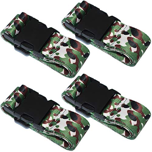 SEPOX 4-Pack Luggage Strap, Adjustable 69' Long Travel Packing Belt Suitcase Baggage Security Straps Black Ordinary Buckle Luggage Straps Camo Luggage Travel Accessories Luggage Straps