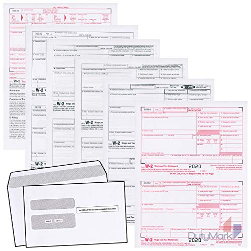 W2 Forms 2020 Income Set, 6 Part Laser Tax Forms and W-3 Transmittal - Kit for 50 Employees, Legal W2 Forms with Self-Seal Envelopes in Pack Great for QuickBooks and Accounting Software, 2020 W2