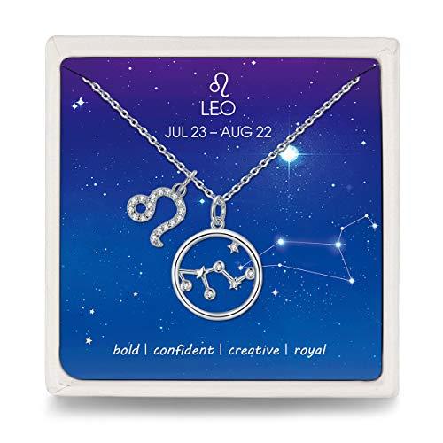 Qings Mujer Collares Serie de Leo Constelación Elegante Colgante Plata de Ley 925 Horóscopo Círculo Collar