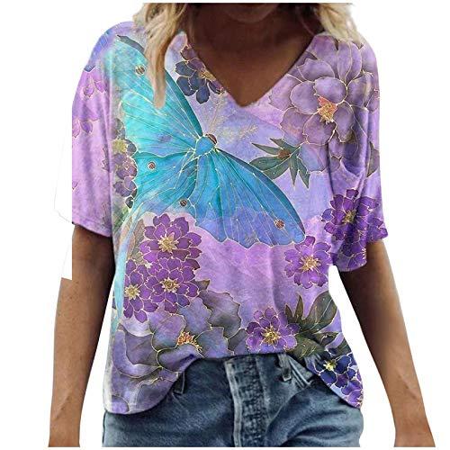 Damen T-Shirt Bunte Pflanzen- und Tiermuster V-Ausschnitt Kurzarm T-Shirt für Damen Casual T-Shirts Bluse Tunika Sommer Lässig Urlaub Loose Tees Tops Mädchen 3D Tshirt Top Hemd Bluse