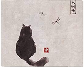 InterestPrint Vintage Fluffy Cat and Dragonfly Traditional Japanese Ink Painting Canvas Prints Wall Art Decor Wood Framed Artwork Paintings Pictures for Bedroom Home Office Decor 20