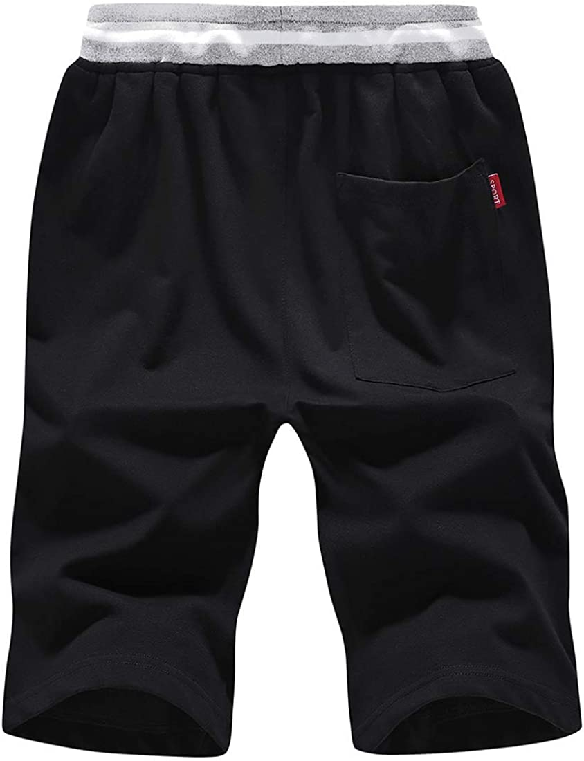 FoxQ Men's Baggy Flat Front Shorts with Zipper Pockets Summer Casual Sports Elastic Waist Drawstring