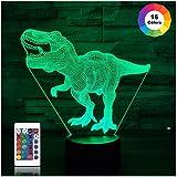 Dinosaurier-Geschenke, T Rex 3D-Nachtlicht 16 Farben, die Nachtlichter für Kinder mit Fernbedienung...