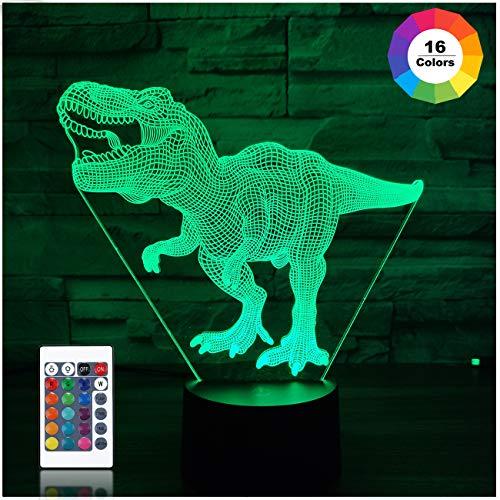 Dinosaurier-Geschenke, T Rex 3D-Nachtlicht 16 Farben, die Nachtlichter für Kinder mit Fernbedienung ändern, T Rex-Geburtstagsgeschenke für Jungen ab 2 Jahren 3 4 5 6+ Jahre Geschenke für Jungen