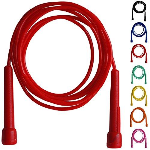 Farabi - Cuerda de saltar para fitness (mango de plástico), color rojo