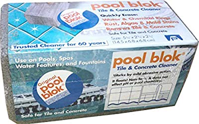"""Pool Blok, PB-12 by US Pumice, Pumice Stone for Cleaning of Pools, Spa, Tile, Concrete, Pummis Stone to Remove Lime, Rust, Stains, Algae from Pools, Grey, 5.75x2.87x2.87"""" (1)"""
