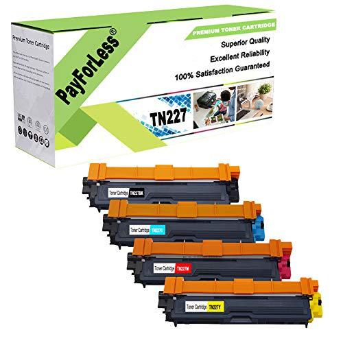PayForLess TN227 TN-227 TN227BK TN223 TN-223 Toner Cartridge Compatible for Brother MFC-L3710CW MFC-L3770CDW MFC-L3750CDW HL-L3210CW HL-L3230CDW HL-L3290CDW HL-L3270CDW HL-L3230CDN -  TN227C04M