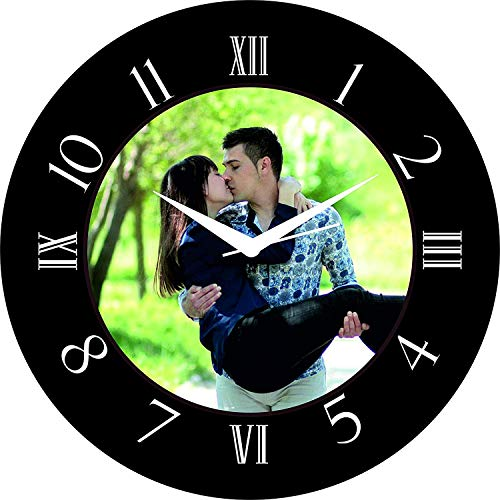Creative Creation Vinyl Personalized and Customized Photo Hanging Wall Decor Clock Picture Frame (Black_28 x 28 cm)