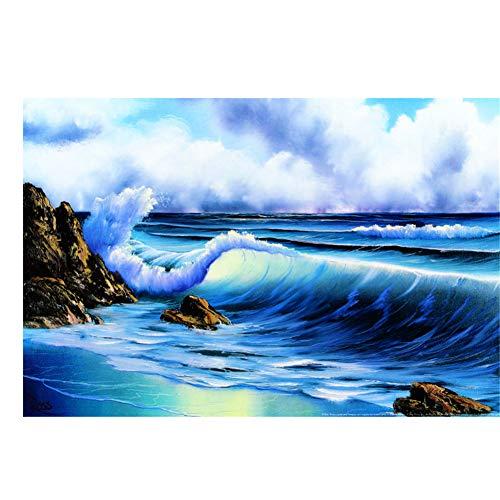 Sanwooden Bob Ross Surft auf Kunstdruck Poster Dekorative Wandmalerei Für Wohnzimmer Wohnkultur Druck auf Leinwand -60x90cm Kein Rahmen