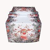 Kamaca Serie Elch mit roter Nase hochwertiges Druck-Motiv mit lustigen Elchen Eyecatcher in Winter Weihnachten (Tischläufer 40x140 cm)