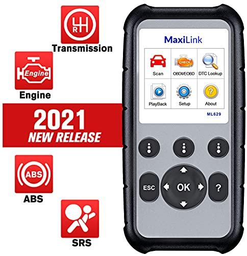 Autel MaxiLink ML629 Strumento Diagnostico Auto OBD2 Scanner Lettore Codice Auto per ABS, SRS, Motore e Trasmissione 4 Sistemi con Auto Vin, Ricerca DTC, Test Pronto - Versione Aggiornata di ML619