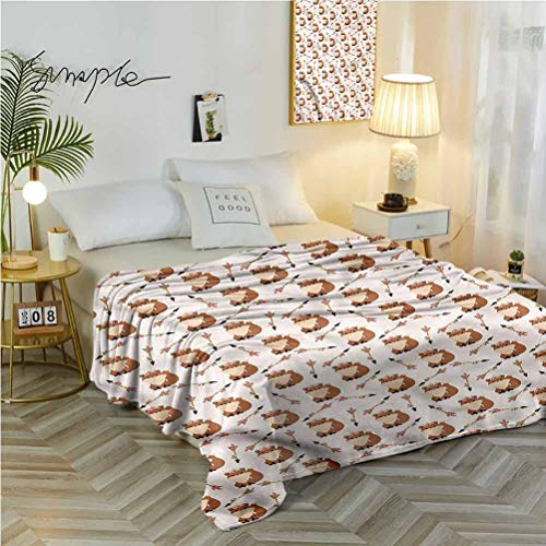 alisoso 60' W x 91' L Fox Soft Flannel Blanket Exquisite Comfortable Cartoon Animal with Arrows