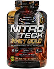MuscleTech NitroTech Whey Gold, 100% Whey Protein Powder, Whey Isolate and Whey Peptides, Double Rich Chocolate, 5.5 Pound Bonus Size 76 Servings
