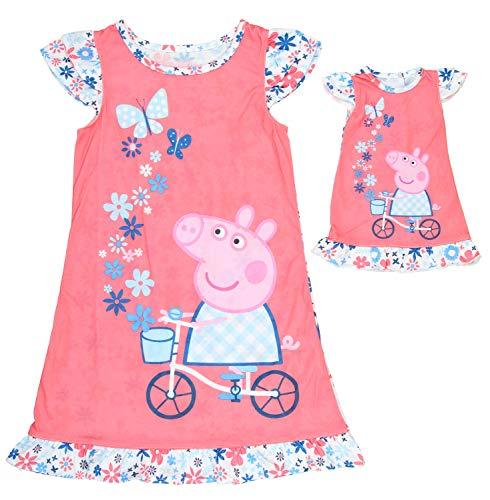 Solitärspiele Kleinkind Mädchen Schlafanzug Nachthemd mit passender Puppe Kleid Set (4T)