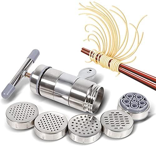 HFFSGS Fabricante de fideos manuales con 9 grosores Molde de fideos, Máquina de prensa de pasta manual de acero inoxidable Juicer Presión Máquina de fabricación de frutas y fideos de verduras, Herrami