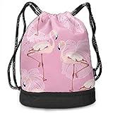 XCNGG Mochila con cordón Pink Flamingo Leaves Vintage Summer Beach Theme Paquete multifuncional Mochila Mochila con compartimento para zapatos Bolsa de cuerdas para hombres Mujeres Adolescentes Nataci