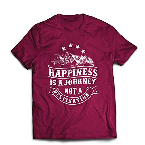 lepni.me Männer T-Shirt Sei glücklich und lächle - Glück ist eine Reise (XX-Large Burgund Mehrfarben)