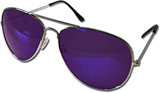 Pilot Style Purple Lens Sunglasses Designer Unisex UV400 Protection Shades (Pack of 3)