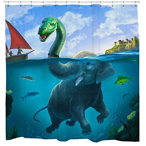 Sharp Shirter Funny Elephant Duschvorhang-Set Mittelalterliches Home Decor Loch Ness Monster von Boat Blue Fabric 71 x 74 Haken enthalten