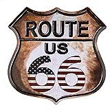 dojune - Cartel de metal con diseño de bandera americana de la ruta 66, estilo vintage, retro, para decoración de pared