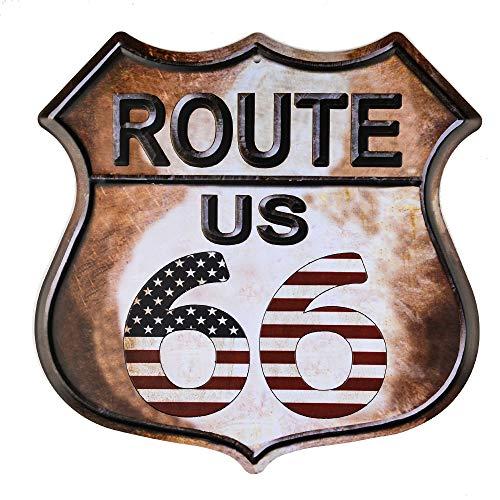dojune - Route 66 Amerikanische Flagge Neuheit Highway Vintage Retro Wanddekoration Schild Metallschild