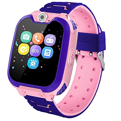 Reloj Inteligente para Niños, Smartwatch para Niños Game Watch 7 Juegos SOS Llamada Música Cámara Grabadora para 3-12 Niño Niña, Reloj de Pulsera Digital para Niños De 3-12 Años Tarjeta, Rosa