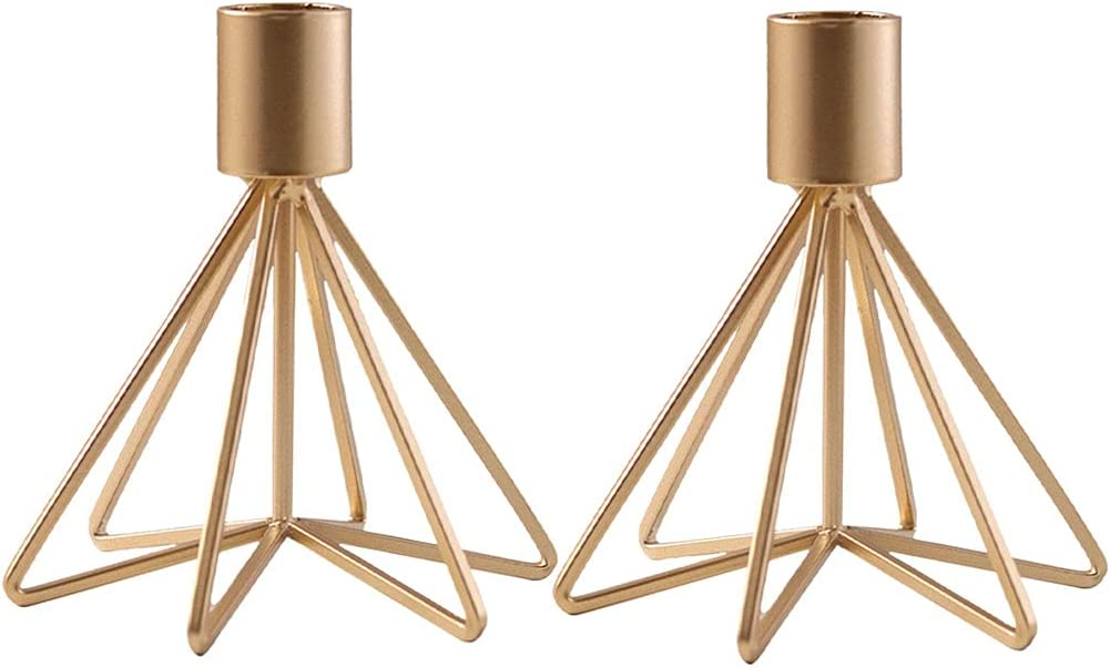 Year-end annual account N\C Set of 2 Metal Golden Mode Holders Courier shipping free Taper for Candles Candle