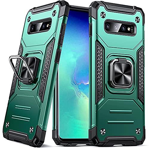 DASFOND Armor Hülle für Samsung Galaxy S10 Hülle Militärische Stoßfeste Handyhülle [Upgrade 2.0] 360 ° Ständer Cover mit Auto Magnet,Dunkelgrün