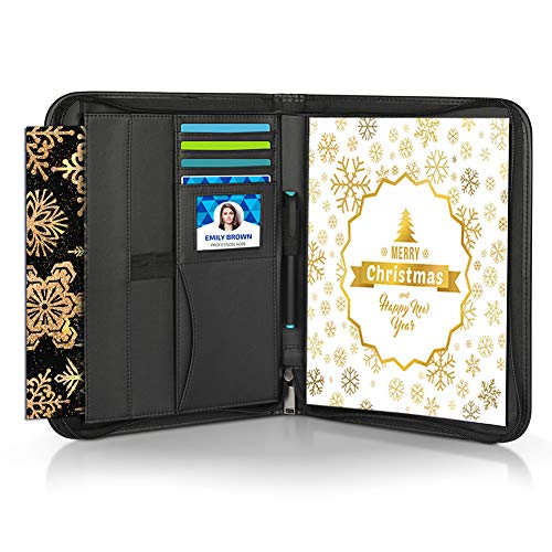 Zipper Portfolio with Pen, Geila PU Leather Zippered Padfolio Portfolio - Interview/Legal Document Organizer & Business Card Holder - 10.1 inch Tablet Sleeve, 8.5 x11 Writing Pad and Zipper Pockets