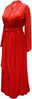 Solid Red Plus Size Long Robe in Poly/Cotton and Soft...
