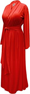 Solid Red Plus Size Long Robe in Poly/Cotton and Soft Rayon/Spandex with Attached Belt