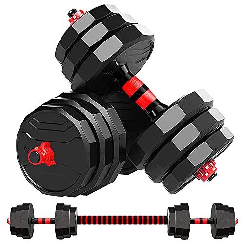 MOJEER ダンベル 可変式【最新進化版・3in1】10kg 20kg 30kg 40kg 2個セット12角形構造 バーベルにもなる ダンベル 無臭素材 静音JX (15kg×2個セット/red)