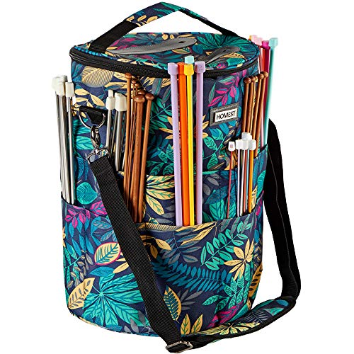 HOMEST XL Yarn Storage Tote with 2 Tangle Free Slits on Lid, Knitting and Crochet Bag with Adjustable Shoulder Strap, Large Craft Supplies Organizer, Floral (Patent Design)