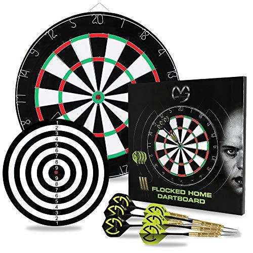 TW24 Dartscheibe mit 2 Spielflächen - Dartboard inkl. 6 MVG Steeldarts - Michael Van Gerwen Dart Set