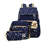 Fanci Teenager Girls Backpack Canvas Rucksack School Book Bag with Pencil Case