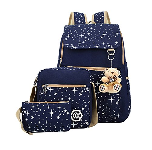 Fanci Girls Star Prints Canvas Primary School Backpack Set with Crossbody Bag 3 pcs Deep Blue