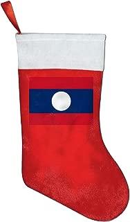 Jinyimingpi Laos Flag Christmas Stockings Xmas Decoration Gift Bags Red Candy Bag Hanging Accessories Santa Stockings