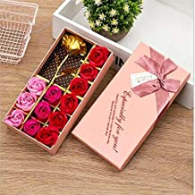 The Purple Tree Gold Rose with Rose Shaped Rose Gift Box - (Pink) - 1 PC, 1 Gold Rose Flower with 12 soap Rose Flower, Best Gift for Mother, Gift Box for Women, Birthday Gift