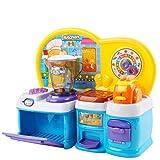deAO Mi Primera Cocinita de Juguete Conjunto de Cocina Mini Infantil con Luces y Sonidos Incluye Accesorios y Actividad de Clasificación de Formas (Azul)