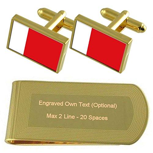 Select Gifts Dubai Fahne Gold-Manschettenknöpfe Geldscheinklammer Gravur Geschenkset