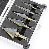 LZP-PP La llegada alta calidad 5pcs / set de cobalto de múltiples orificios 50 Tamaños Paso Taladro bit puesto w caja de aluminio