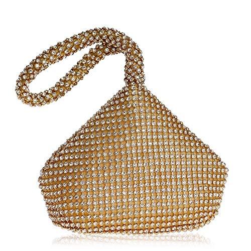 G-rf Women Fashion Banquet Party Diamond Handbag (Black) (Color : Gold)