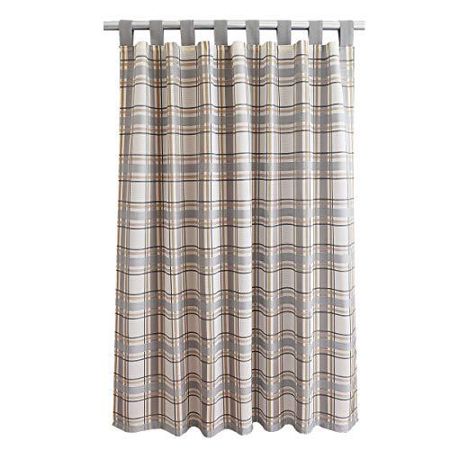 SeGaTeX home fashion Landhaus-Vorhang Hetty grau kariert Deko-Schlaufenschal mit 8 Schlaufen Übergardine Landhausserie Hetty