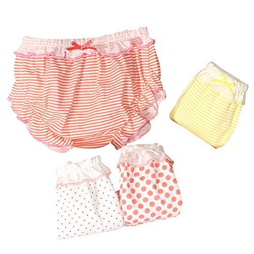 G-Kids 4 PCS Baby Mädchen Baumwolle Unterwäsche Unterhosen Kleinkinder Prinzessin Gepunkte Slips Schlüpfer (4 Pack, 90/6-12 Monate)