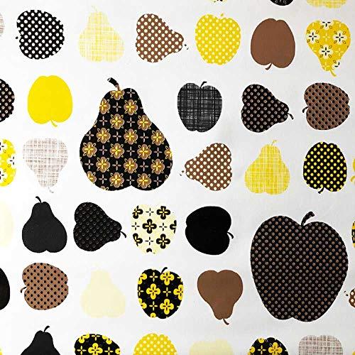 Klebefolie - Möbelfolie Äpfel und Birnen gelb - 45 cm x 200 cm Selbstklebende Folie mit Obst Motiv - Dekorfolie
