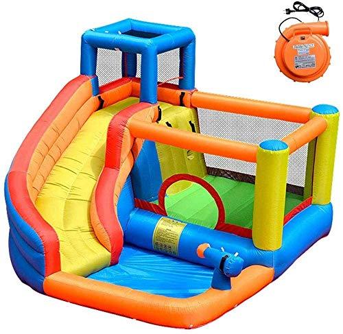 FGVDJ Castillo Hinchable al Aire Libre para niños Parque acuático Grande Inflable con tobogán soplador Pistola de Agua Pared de Escalada y trampolín para Home Park Ki