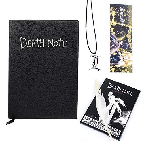 Cuaderno Death Note: los mejores regalos para los amantes de los cosplay, se puede utilizar como diario y cuaderno. Tamaño de 8,1 pulgadas / 5,8 pulgadas (con pluma y cadena L-f?rmiger).