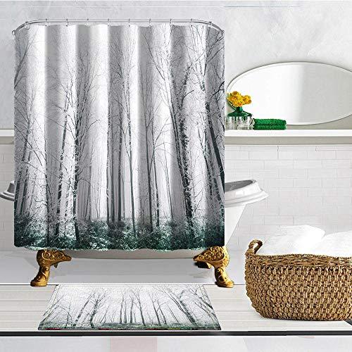 XCBN Creative Snow View Badezimmer Duschvorhang Winter Forest Frozen Badezimmer Vorhang wasserdicht, formfest & waschbar A1 180x200cm