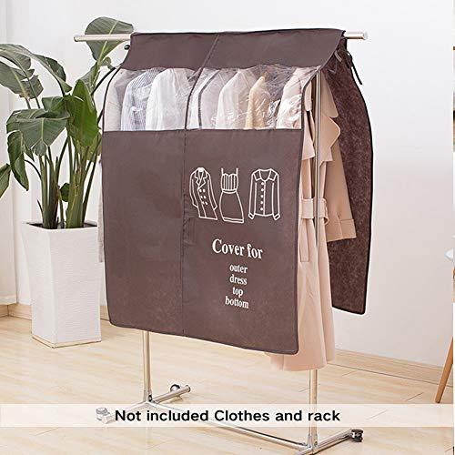 Funda protectora para ropa y armario, transparente, para guardar ropa, abrigos, ropa y ropa (gris), No nulo, café, Tamaño libre