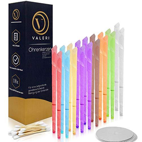 18 Stück (9 Paar) Ohrenkerzen/Ohrenkerzen zur Pflege der Ohren - 8 verschiedene aromatische Gerüche - mit Auffangscheiben und 20 Wattestäbchen